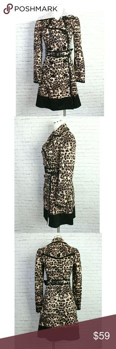 """Star By Julien Macdonald Black Animal Print Jacket A head turning couture jacket to show off in this fall. Incredibly well made in an all over animal print with black trim. Double breasted button front closure, removable belt and side hand pockets. Has buttons on cuffs, a back button detail and is fully lined.  EUC Does run a bit small  :: Approx measurements :: Size 8 Bust 16"""" Length 34"""" Sleeves 24"""" Star by Julien Macdonald Jackets & Coats Pea Coats"""