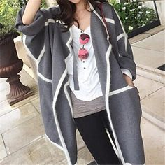 Women's Casual Splicing Contrast Color Loose Wool Coat