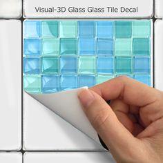 Kitchen bathroom Tile Decals Vinyl Sticker : by SnazzyDecal Tile Decals, Wall Tiles, Linoleum Flooring, Kitchen Backsplash, Backsplash Ideas, Home Decor Trends, Adhesive Vinyl, Tile Design, Color Splash
