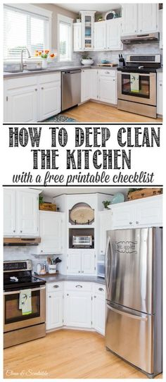 Step by step plan to help you deep clean your kitchen. Free printable included. //cleanandscentsible.com