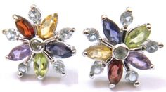 Precious pair of earring made by Blue Topaz & Multi stone only on $15.99.