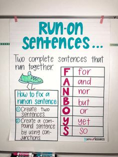 Writing Mini Lesson Run-On Sentences - Rockin Resources Writing Curriculum, Teaching Writing, Writing Activities, Teaching Grammar, Homeschooling, Grammar Lessons, Writing Games, Grammar Games, Grammar Practice