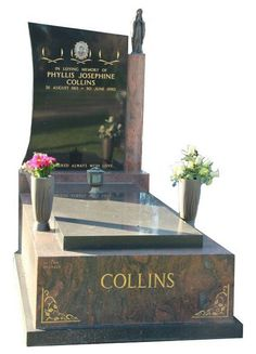 """""""Collins Cemetery Memorial – Full Monument"""" All polished full monument granite memorial and monument headstone created in Multicolour Red and Royal Black Indian Granite for Collins and installed at the Springvale Botanical cemetery. - Taylor Stones established Monumental Masons since 1981 has become the sought after stone mason by the Melbourne communities. #cemeterymemorials #gravememorials #stonemason #gravemonuments #monumentheadstone #headstone"""