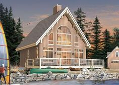 A SOUGHT AFTER RUSTIC WOOD CHALET WITH OPEN FLOOR PLAN LAYOUT  A-Frame wood cabin house plan with mezzanine and 3 bedrooms  http://www.drummondhouseplans.com/house-plan-detail/info/the-skylark-cottages-chalets-1001987.html