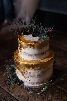 metallic gold wedding cake ideas with greenery