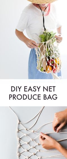 a Net Produce Bag Make your own net produce bag for the market.Make your own net produce bag for the market. Arts And Crafts For Adults, Easy Arts And Crafts, Crafts For Seniors, Crafts For Kids, Diy Net Bags, Diy Bags Easy, Easy Diy, Simple Diy, Macrame Projects