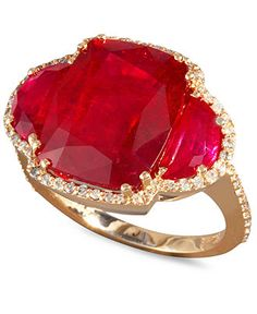 Rosa by Effy 14k Rose Gold Ring, Ruby (12-5/8 ct. t.w.) and Diamond (3/8 ct. t.w.) Ring  Web ID: 668324