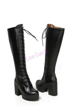 Gothic Punk Womens Lace Up High Block Heel Platform Riding Shoes Knee High Boots