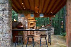 Outstanding Patio Rustic Image Ideas with Black Track Light and Dark Stone Counter #