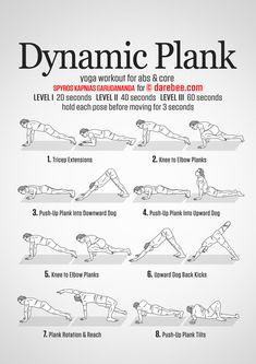 Dynamic Plank Workout dynamic stretching back pain Plank Workout, Ab Workout At Home, At Home Workouts, Fitness Workouts, Yoga Fitness, Ab Workouts, Dynamic Yoga, Dynamic Stretching, Hiit