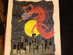 Painting of Chinese dragon over night cityscape