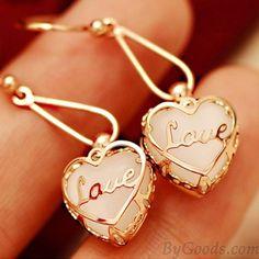 Cute Opal Heart Love Earrings & Eardrop