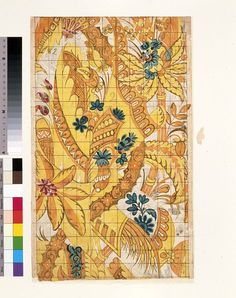 a design for Spitalfeld Weavers by Christopher Baudouin 1680 - 1739  ( a French Huguenot Refugee )  A Pattern for woven silk from the 'Liddiard Set', in pencil, pen and ink and watercolour on laid paper, in yellow, orange, red, pale and dark blue, mauve/grey and dark brown, depicting stylised floral, foliate and decorative motifs covering the whole design. The design is predominantly in yellow, orange and brown, with touches of the other colours.