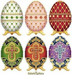 Classic Paintings of Easter | Easter Eggs In Faberge Collection 1 Cross Stitch Pattern Solaria