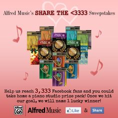 Like the Alfred Music Piano page and then share this post with your friends to help us reach 3,333 fans! Then enter for your chance to win a piano studio prize pack from Alfred Music here: http://4wrd.it/A.PIANOSHARETHELOVE