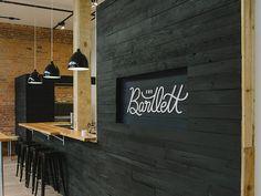 cafe signage painted woodblack