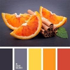 Color Palette Bright colour of orange blends beautifully with the colour of wet asphalt. It is good to use this palette for the kitchen, if you take gray as a base and d. Colour Pallette, Color Palate, Colour Schemes, Color Combos, Color Patterns, Orange Palette, Grey Palette, Paint Schemes, Kitchen Colors