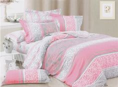 Pink and grey print dorm room bedding. Elegant and feminine!