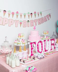 Party table from Ice Cream Parlour Birthday Party at Kara's Party Ideas. See more at karaspartyideas.com!