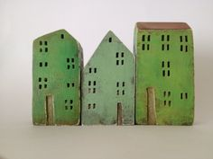 set of 3 ceramic houses made in high fired stoneware by VGCLAYART