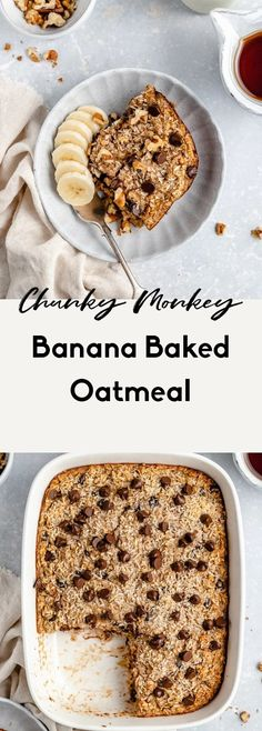 Delicious chunky monkey banana baked oatmeal packed with healthy fats from coconut Healthy Oatmeal Recipes, Oats Recipes, Healthy Baking, Healthy Fats, Healthy Desserts, Healthy Oatmeal Breakfast, Dairy Recipes, Recipies, Baked Oatmeal Cups