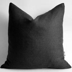Sukan / 1 Black linen pillow covers black linen by sukanart