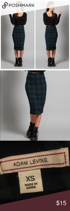 """Tartan Plaid Skirt  A classic pencil silhouette skirt from Adam Levine creates a polished look for fall. Cut from ultra-soft woven fabric and with zip closure at waist makes all-day wear comfortable and stylish. Zips at waist Pencil Skirt. Waist 12"""" hips 17"""" length 25"""" Skirts Pencil"""