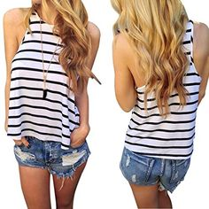 Striped New Women Loose Bustier Crop Top Fashion T-Shirt Belly Sports Dance Tops Woman's Cropped Top Short Vest Tank Top Crop Top Styles, Crop Top Outfits, Sporty Outfits, Fashion Outfits, Fashion Women, Summer Outfits, Striped Crop Top, Strapless Crop Top