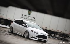 Ford Focus ST mk3 in Frozen White Colour Tuning, low rider and amazing wheels