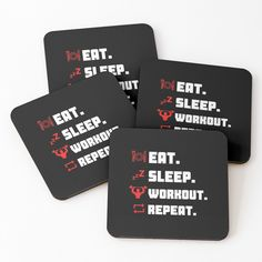 'Eat Sleep Workout Repeat Typography Workout Design' Coasters by Fitness Design, Eat Sleep, Coaster Set, Drink Sleeves, Repeat, Typography, Workout, Printed, Awesome