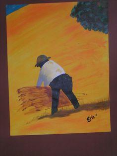 Werkende man in het veld - met acryl verf