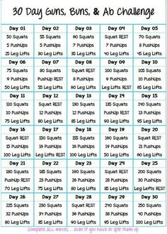 30 Day Buns, Guns and Abs Challenge