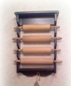 Primitive Country Wooden Rolling Pin Rack