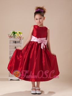 Pink Bowknot Wine Red High Neck Taffeta Flower Girl Dress For Customize Hottest  http://www.fashionos.com  Outfitting the bridal party is almost as much fun as shopping for you wedding gown – especially when it comes to the young ones. This lovely dress features a scoop neckline and a chic waistband with a cute bowknot make your baby a vivid look.