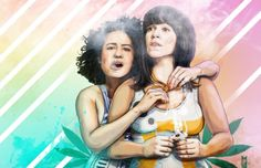"""These ARE the Broads You Are Looking For - inspired by the humor and friendship of Broad City and Star Wars. printed by the artist in Colorado, on thick watercolor paper using archival inks. """"P"""" mark will not appear on your print. Broad City, Illustration Artists, Music Tv, Celebrity Couples, Motion Design, Best Shows Ever, Best Tv, Star Wars, Art Prints"""