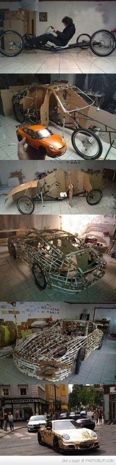 make a reclining bike into a car
