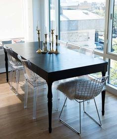 Simple mix n match dining table with candelabras