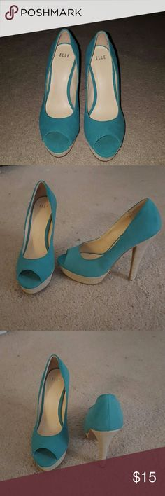 ELLE Pump Teal Green, open-toe pump. Great condition.  Suede material Elle Shoes Heels