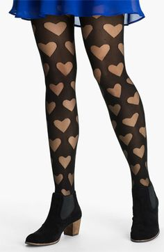 Frenchi® Burnout Heart Tights | Nordstrom
