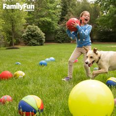 Clean Your Backyard: In this giggle-inducing free-for-all, kids try to get as many of the balls as possible onto the other team's side.