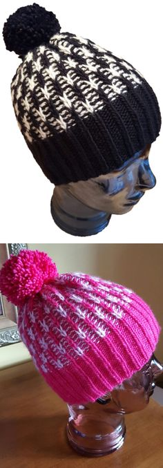 Free Knitting Pattern for Snow Valley Hat - Easy hat in two colors with easy slip stitch colorwork and corrugated ribbing. Designed by Anne Gagnon