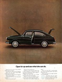 1971 Type 3 Fastback Color VW Volkswagen-Open'er Up-Original Magazine Ad Vintage Advertisements, Vintage Ads, Volkswagen Type 3, Volkswagen Beetles, Alfa Cars, Kdf Wagen, Safari, Vw Classic, Transporter