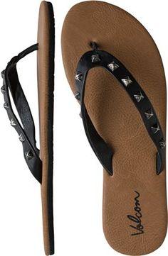 Studded Volcom sandal. http://www.swell.com/Womens-Footwear-New-Products/VOLCOM-PRETTY-LEGIT-SANDAL?cs=BL