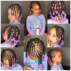 Little Girls Natural Hairstyles, Toddler Braided Hairstyles, Toddler Braids, Black Kids Hairstyles, Baby Girl Hairstyles, Braids For Kids, Kid Braids, Hairstyles 2018, Kids Braids With Beads