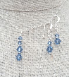Check out this item in my Etsy shop https://www.etsy.com/uk/listing/294923689/blue-swarovski-crystal-earring-and