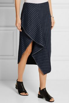3.1 Phillip Lim   Draped pinstriped linen skirt   NET-A-PORTER.COM