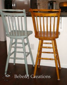 Bebe&J: Creating an Aged Look with Paint - Bar Stool Makeover