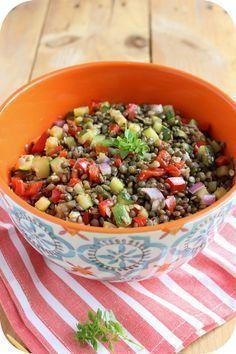 Salade de lentilles vertes : lentilles vertes, poivron rouge, courgette, oignon rouge, cumin, ail, huile d'olive, basilic #curetonfoie