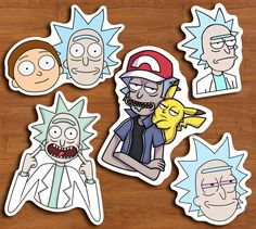 Rick and Morty Pack of 5 -Height: -Width: -Matte white -Hand cut sticker -Gloss sprayed finish