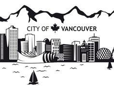 Fenstertattoo No.JS3 Vancouver Skyline Vancouver Skyline, Vancouver City, Vancouver Island, Skyline Tattoo, Skyline Art, Skyline Drawing, Vancouver Tattoo, Art Assignments, Paper Quilling Designs